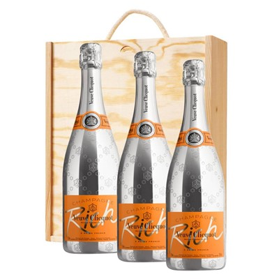 3 x Veuve Clicquot Rich Champagne 75cl In A Pine Wooden Gift Box