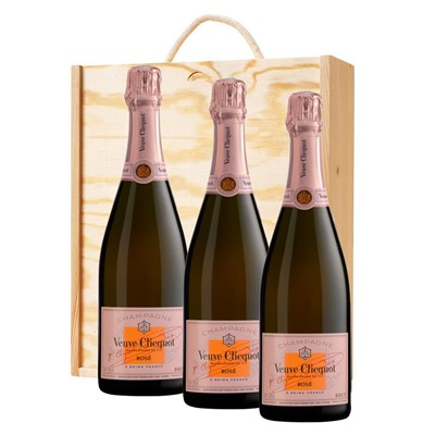 3 x Veuve Clicquot Rose Champagne 75cl In A Pine Wooden Gift Box