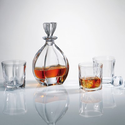 This set of Laguna decanter and six whisky tumblers will perfectly match your tableware - This whisky decanter capacity is 700ml Interesting design - Novel and superb glassware gift idea as it comes in a lovely Gift box - Dishwasher safe however hand wash recommended to preserve shine and brilliance -Part of Bohemia crystal collection