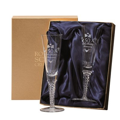 2 Royal Scot Presentation Boxed Air Twist Champagne flutes engraved Golden Wedding Anniversary