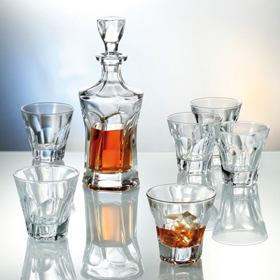 This set of Apollo decanter and six whisky tumblers will perfectly match your tableware - This whisky decanter capacity is 700ml Interesting design - Novel and superb glassware gift idea as it comes in a lovely Gift box - Dishwasher safe however hand wash recommended to preserve shine and brilliance -Part of Bohemia crystal collection