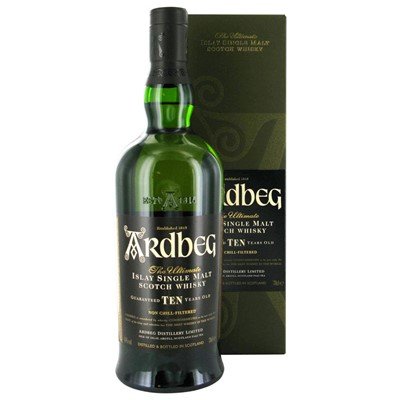 Ardbeg 10 Year Old - Jim Murray's 2008 World Whisky of the Year! When Ardbeg 10 was released it was the first expression from the distillery not to be chill-filtered. It's a true classic from Islay, and a must have for any fan of single malt whisky.
