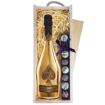 A single bottle ofArmand de Brignac Gold Champagne & a single strip of fine Hand Made Truffles 100g Presented in a wooden gift box with sliding lid and lined with wood wool with a Gift Card for your personal message. Price includes free UK Mainland Delivery, and Exports and international delivery available.