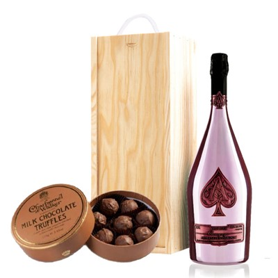 A single bottle of Armand de Brignac Rose 75cl, Champagne & Charbonnel  Milk Chocolate Truffles (110g), Presented in a wooden gift box with sliding lid and lined with wood wool with a Gift Card for your personal message. . Price includes free UK Mainland Delivery, and Exports and international delivery available.