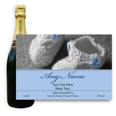 New Baby Boy Label-Buy a bottle of Champagne Jules Feraud Brut Cuvee NV 75cl personalised as a gift that is a perfect for celebrating with style! Create your very own Personalised Bottle of Champagne with your own message on the bottle which is printed in full colour. Jules Feraud is a rich Champagne with savoury aromas. This deep golden Champagne is powerful but elegant; strong bodied and dry yet still balanced. A fresh fun and lively champange for any occasion..and deliciously easy to drink! Please Keep the Message to Maximum of 25 words Gift Message will be used as message on the label . Price includes free UK Mainland Delivery, and Exports and international delivery available.