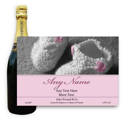New Baby Girl Label-Buy a bottle of Champagne Jules Feraud Brut Cuvee NV 75cl personalised as a gift that is a perfect for celebrating with style! Create your very own Personalised Bottle of Champagne with your own message on the bottle which is printed in full colour. Jules Feraud is a rich Champagne with savoury aromas. This deep golden Champagne is powerful but elegant; strong bodied and dry yet still balanced. A fresh fun and lively champange for any occasion..and deliciously easy to drink! Please Keep the Message to Maximum of 25 words Gift Message will be used as message on the label . Price includes free UK Mainland Delivery, and Exports and international delivery available.