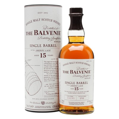 Buy a bottle of Balvenie Single Barrel 15 year old. An extremely fine whisky from the noted Highland Distillery. Very rare indeed. The Balvenie Single Barrel Single Malt Scotch Whisky is a 15 year old single malt which is drawn from a single bourbon cask of a single distillation. Price includes free UK Mainland Delivery, and Exports and international delivery available.