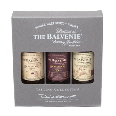 Balvenie has come up with this perfect gift showcasing a range of their classic whiskies  fantastic for any whisky lover! Each expression in the range has a distinctive taste, but all share a rich honeyed character. 1 x 5cl Balvenie DoubleWood 12 Year Old, 1 x 5cl Balvenie DoubleWood 17 Year Old, 1 x 5cl Balvenie Caribbean Cask 14 Year Old. . Price includes free UK Mainland Delivery, and Exports and international delivery available.