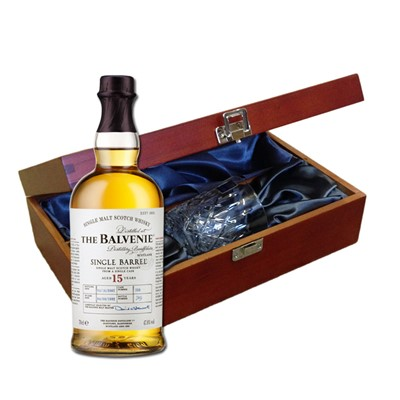 Send a bottle of Balvenie Caribbean Cask 14 Year Old Speyside Malt Whisky in a lovely box beautifully stained featuring traditional joins with hinged lid and clasp fastening. Along with a beautiful hand cut lead crystal Royal Scot Whisky glass. All gifts come with a gift card with message of your choice.