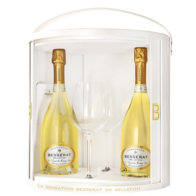 Besserat de Bellefon Blanc de Blancs Coffret Set with Flutes - In this lovely white Besserat de Bellefon branded Coffret Set you get two bottles of Besserat de Bellefon Blanc de Blancs An exceptional quality wine. The colour is a very pure bright yellow, with golden highlights. A froth of light bubbles forming a discreet ring in the glass. Packed beautifully with 2 Besserat  de Bellefon La Sensation Riedel  Champagne flutes.