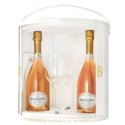 Besserat de Bellefon Rose Coffret Set with Flutes - In this lovely white Besserat de Bellefon branded Coffret Set you get two bottles of Besserat de Bellefon one Besserat de Bellefon Rose This pale pink champagne with salmon highlights offers a generous nose that is intense yet refined with strong hints of red berries, especially wild strawberries. It brings to mind jelly, redcurrants and almonds.  Packed beautifully with 2 Besserat  de Bellefon La Sensation Riedel  Champagne flutes.