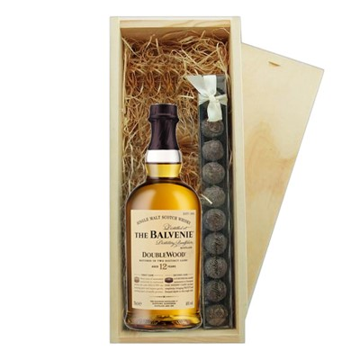 Balvenie 12 Year Old DoubleWood & Truffles Wooden Box   A single bottle of Balvenie 12 Year Old DoubleWood Speyside Single Malt Scotch Whisky & a single strip of fine Hand Made Truffles 100g Presented in a wooden gift box with sliding lid and lined with wood wool with a Gift Card for your personal message.  . Price includes free UK Mainland Delivery, and Exports and international delivery available.