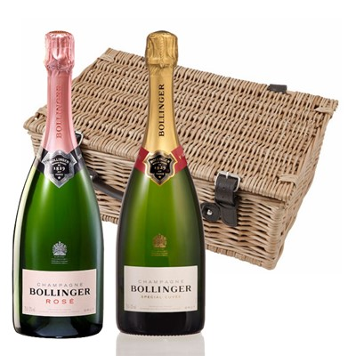 Bollinger Brut and Rose Twin Hamper  Buy a lovely wicker hamper with leather straps padded out with shred fill, with a bottle of Bollinger Brut 75cl and a bottle of Bollinger Rose 75cl in. It comes with a gift card with your personal gift message in.  . Price includes free UK Mainland Delivery, and Exports and international delivery available.