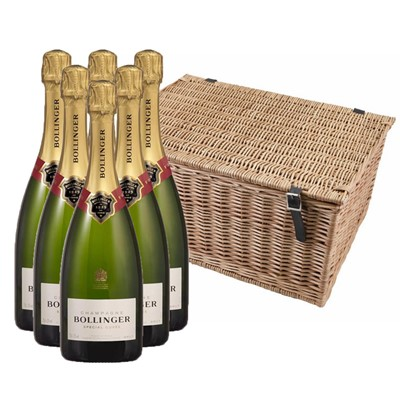 Buy a case of six Bollinger Special Cuvee none vintage Champagne, 75cl All packed up in a traditional wicker hamper basket. Handwoven and made from top quality Autumn willow. Our wicker is steamed first to avoid splitting when weaving and then boiled afterwards to darken its colour. Faux leather hinges and straps with cut out handles on either end, finish off the product beautifully. Price includes free UK Mainland Delivery, and Exports and international delivery available.
