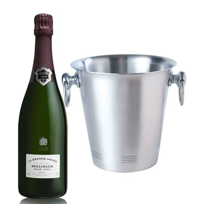 Bollinger Grande Annee Rose 2005 With Ice Bucket With A traditional style aluminium ice bucket with two carry handles. As with any aluminium product, rust is not an issue so they will last a long time. Price includes free UK Mainland Delivery, and Exports and international delivery available.