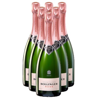 Case of Six Bollinger Rose Champagne, 75cl Bottles, Bulk Packed in a single case. Price includes free UK Mainland Delivery, and Exports and international delivery available.