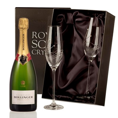 2 x beautiful Swarovski Crystal Encrusted Champagne flutes and a Bottle of Bollinger Brut, NV, 75cl Champagne. Price includes free UK Mainland Delivery, and Exports and international delivery available.