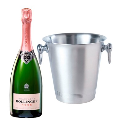 Bollinger Rose With Ice Bucket With A traditional style aluminium ice bucket with two carry handles. As with any aluminium product, rust is not an issue so they will last a long time. Price includes free UK Mainland Delivery, and Exports and international delivery available.
