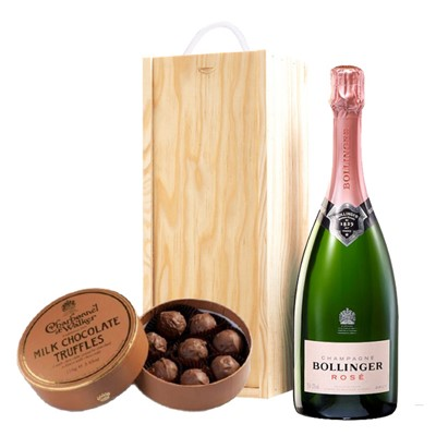 A single bottle of Bollinger Rose 75cl, Champagne & Charbonnel Milk Chocolate Truffles (110g), Presented in a wooden gift box with sliding lid and lined with wood wool with a Gift Card for your personal message. Price includes free UK Mainland Delivery, and Exports and international delivery available.