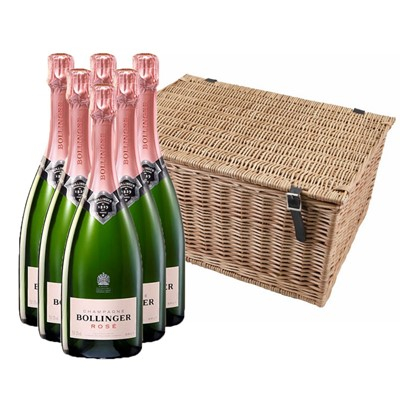 Buy a case of six Bollinger Rose none vintage Champagne, 75cl All packed up in with shredfill in a traditional wicker hamper basket. Handwoven and made from top quality Autumn willow. Our wicker is steamed first to avoid splitting when weaving and then boiled afterwards to darken its colour. Faux leather hinges and straps with cut out handles on either end, finish off the product beautifully. Wicker hampers, with their obvious on. Price includes free UK Mainland Delivery, and Exports and international delivery available.