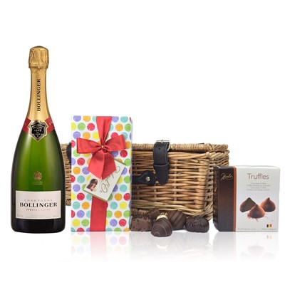 Bollinger Brut and Chocolates Hamper  A delightful gift of Bollinger Brut along with a box of Mini Duc d'O Belgin Chocolates (50g) and Belgid'Or Fine Belgin Choclates (175g) all packed in a wicker hamper with leather straps, lined with wood wool.  .  . Price includes free UK Mainland Delivery, and Exports and international delivery available.