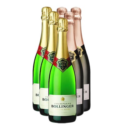 Case of Six Bollinger 3x Special Cuvee 3x Bollinger Rose 75cl Bottles Bulk Packed in a single case. Price includes free UK Mainland Delivery, and Exports and international delivery available.