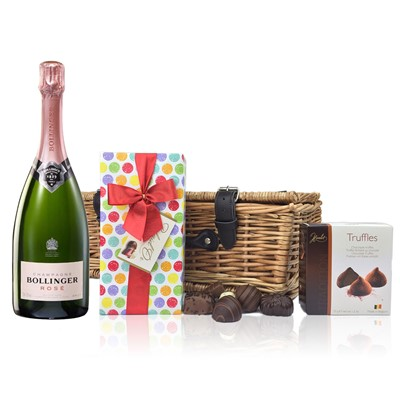 Bollinger Rose and Chocolates Hamper  A delightful gift of Bollinger Rose along with a box of Mini Duc d'O Belgin Chocolates (50g) and Belgid'Or Fine Belgin Choclates (175g) all packed in a wicker hamper with leather straps, lined with wood wool.  .  . Price includes free UK Mainland Delivery, and Exports and international delivery available.