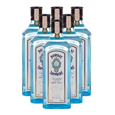 Bombay Sapphire Gin 6x75cl Case of Six Bombay Sapphire Gin, Bulk Packed in a single case. The name Sapphire is a reference to the elusive premium quality of the spirit as well as the striking color of the bottle itself. The distinctive translucent blue glass Bombay Sapphire bottle has caught the eye of style conscious individuals who have quickly become its biggest enthusiasts spreading the word about its unusually subtle yet complex taste. Price includes free UK Mainland Delivery, and Exports and international delivery available.