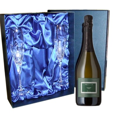 Botter Prosecco Luxury Presentation Set with Flutes A bottle of Botter Prosecco and two beautiful hand cut lead crystal flutes 260mm all supplied in a Luxury Presentation box. . Price includes free UK Mainland Delivery, and Exports and international delivery available.