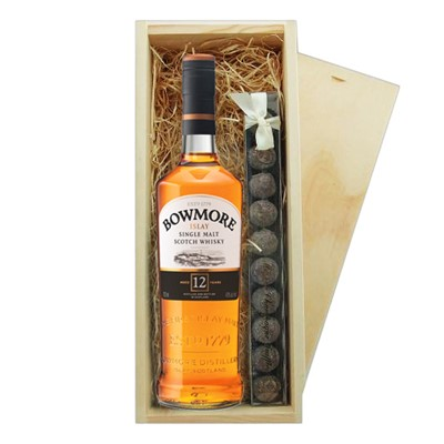 Bowmore 12 And Truffles Wooden Box A single bottle of Bowmore 12 Year Old Single Malt Whisky And a single strip of fine Hand Made Truffles 100g Presented in a wooden gift box with sliding lid and lined with wood wool with a Gift Card for your personal message.  . Price includes free UK Mainland Delivery, and Exports and international delivery available.