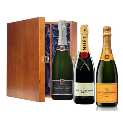 One bottle of Veuve Clicquot Yellow Label, NV, Champagne and one bottle of Moet & Chandon Brut Imperial Champagne and Chassenay d'Arce Cuvee Premiere Brut (3 x 75cl) Presented in a luxurious stained wooden box with hinged lid and clasp. The box is lined with silver satin and comes with a Gift Card for your personal message.  . Price includes free UK Mainland Delivery, and Exports and international delivery available.