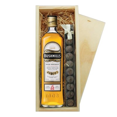 Bushmills Original Irish Whisky & Truffles Wooden Box A single bottle of Bushmills Original Blended Irish Whisky & a single strip of fine Hand Made Truffles 100g Presented in a wooden gift box with sliding lid and lined with wood wool with a Gift Card for your personal message.  . Price includes free UK Mainland Delivery, and Exports and international delivery available.