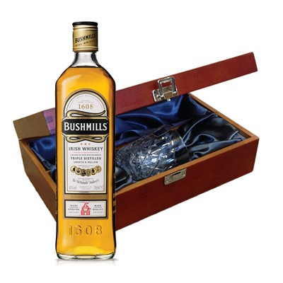 Bushmills Irish Whisky In Luxury Box With Royal Scot Glass Send a bottle of Bushmills Original Blended Irish Whisky in a lovely box beautifully stained featuring traditional joins with hinged lid and clasp fastening. Along with a beautiful hand cut lead crystal Royal Scot Whisky glass. All gifts come with a gift card with message of your choice.  . Price includes free UK Mainland Delivery, and Exports and international delivery available.