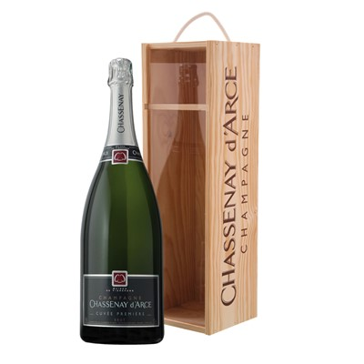 Jeroboam of Chassenay d'Arce Cuvee Premiere Brut In a Branded Box  This cuvee from Chassenay d'Arce is the flagship of the house and the ultimate Non Vintage Champagne. It is currently aged for 5 years in the cellar and delivers a rich and elegant aroma on the nose from the exceptional pinot noir grapes with incredible balance and very little acidity on the palate. This Champagne was recently awarded the title of being one of the top 10 Champagnes in the world.  . Price includes free UK Mainland Delivery, and Exports and international delivery available.