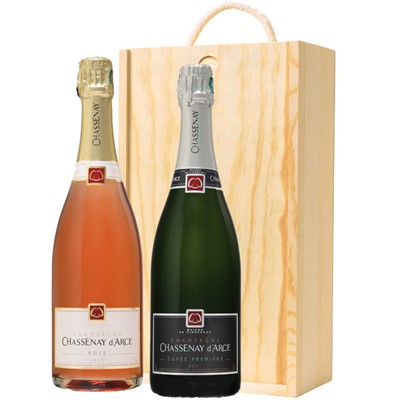 One x 75cl bottle of Chassenay d'Arce Cuvee Premiere Brut and one x 75cl bottle of Chassenay d'Arce Rose, Champagne supplied in a wooden timber case, lined with wood wool.  . Price includes free UK Mainland Delivery, and Exports and international delivery available.