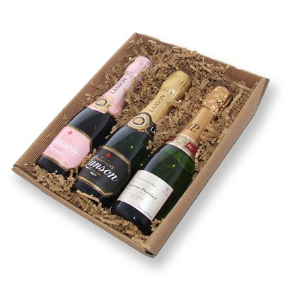 Buy this Mini Laurent-Perrier, Mini Lanson and Mini Lanson Rose set comprising of 3 x 20cl bottles each presented in a hand packed reusable basket.