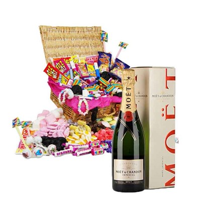 Classic Retro Sweet Hamper and Moet Champagne Our classic original retro sweet hamper is packed with all of your childhood memories and makes the perfect gift or selfish sweetie treat for you! This Hamper comes with a Full bottle 75cl of Moet and Chandon Brut. . Price includes free UK Mainland Delivery, and Exports and international delivery available.