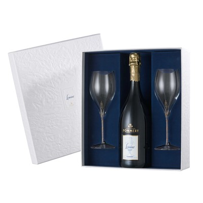 Send Pommery Cuvee Louise 1999 Gift Box and 2 flutes Champagne 75cl Online