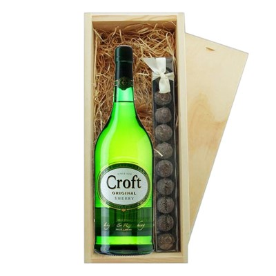 Croft Original Sherry & Truffles Wooden Box   A single bottle of Croft Original Sherry 70cl & a single strip of fine Hand Made Truffles 100g Presented in a wooden gift box with sliding lid and lined with wood wool with a Gift Card for your personal message.  . Price includes free UK Mainland Delivery, and Exports and international delivery available.