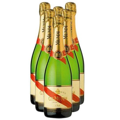 Buy Case of Twelve Mumm Cordon Rouge NV 75cl Bottles Bulk Packed in a single case. Price includes free UK Mainland Delivery, and Exports and international delivery available.