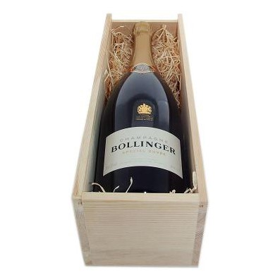 Buy Send a single bottle of Bollinger Special Cuvee NV Champagne 75cl Presented in a wooden gift box with sliding lid and lined with wood wool with a Gift Card for your personal message . Price includes free UK Mainland Delivery, and Exports and international delivery available.