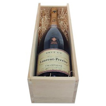 Buy a Magnum of Laurent Perrier La Cuvee NV Champagne 1.5 litres . Presented in a wooden gift box with sliding lid the box is lined with wood wool. . Price includes free UK Mainland Delivery, and Exports and international delivery available.