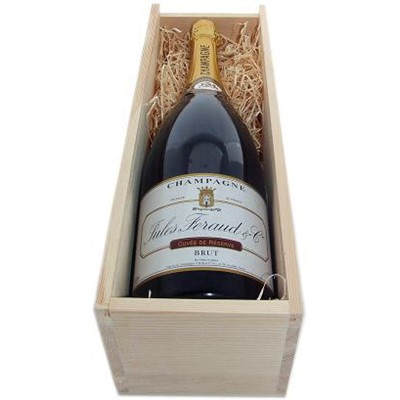 Buy a Jeroboam of Henri Blin Jules Feraud Brut NV Champagne 3.0 litres . Presented in a carton gift box Not wooden as shown . A firm favourite. . Price includes free UK Mainland Delivery, and Exports and international delivery available.
