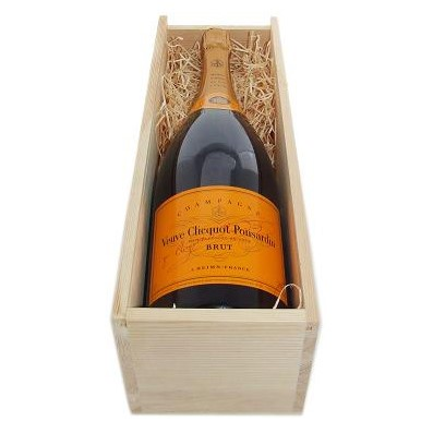 Buy a Magnum of Veuve Clicquot NV Champagne 1.5 litres . Presented in a wooden gift box with sliding lid the box is lined with wood wool. An Absolutely Fabulous gift. Price includes free UK Mainland Delivery, and Exports and international delivery available.
