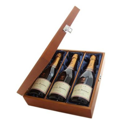 Buy Three bottles of Laurent Perrier La Cuvee NV Champagne 3 x 75cl Presented in a luxurious stained wooden box with hinged lid and clasp. The box is lined with silver satin and comes with a Gift Card for your personal message. . Price includes free UK Mainland Delivery, and Exports and international delivery available.