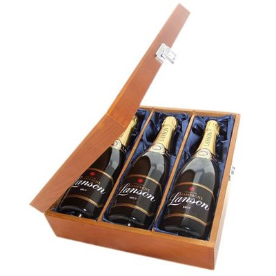 Buy Three bottles of Lanson Black Label NV Champagne 3 x 75cl Presented in a luxurious stained wooden box with hinged lid and clasp. The box is lined with silver satin and comes with a Gift Card for your personal message. . Price includes free UK Mainland Delivery, and Exports and international delivery available.