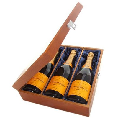 Buy Three bottles of Veuve Clicquot Yellow Label NV Champagne 3 x 75cl Presented in a luxurious stained wooden box with hinged lid and clasp. The box is lined with silver satin and comes with a Gift Card for your personal message. . Price includes free UK Mainland Delivery, and Exports and international delivery available.