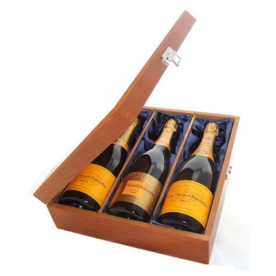 Buy Two bottles of Veuve Clicquot Yellow Label NV Champagne and Veuve Vintage 2004 3 x 75cl Presented in a luxurious stained wooden box with hinged lid and clasp. The box is lined with silver satin and comes with a Gift Card for your personal message. . Price includes free UK Mainland Delivery, and Exports and international delivery available.