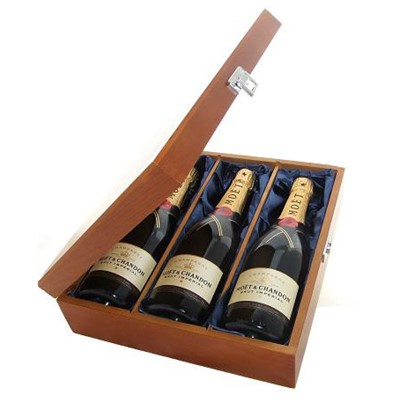Buy Three bottles of Moet & Chandon Brut NV Champagne 3 x 75cl Presented in a luxurious stained wooden box with hinged lid and clasp. The box is lined with silver satin and comes with a Gift Card for your personal message. . Price includes free UK Mainland Delivery, and Exports and international delivery available.