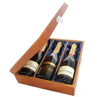 Buy Two bottles of Moet Brut Imperial NV Champagne and Moet Vintage 2008 3 x 75cl Presented in a luxurious stained wooden box with hinged lid and clasp. The box is lined with silver satin and comes with a Gift Card for your personal message. . Price includes free UK Mainland Delivery, and Exports and international delivery available.